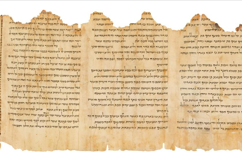 A portion of the Temple Scroll, the best preserved of the nearly 900 Dead Sea Scrolls