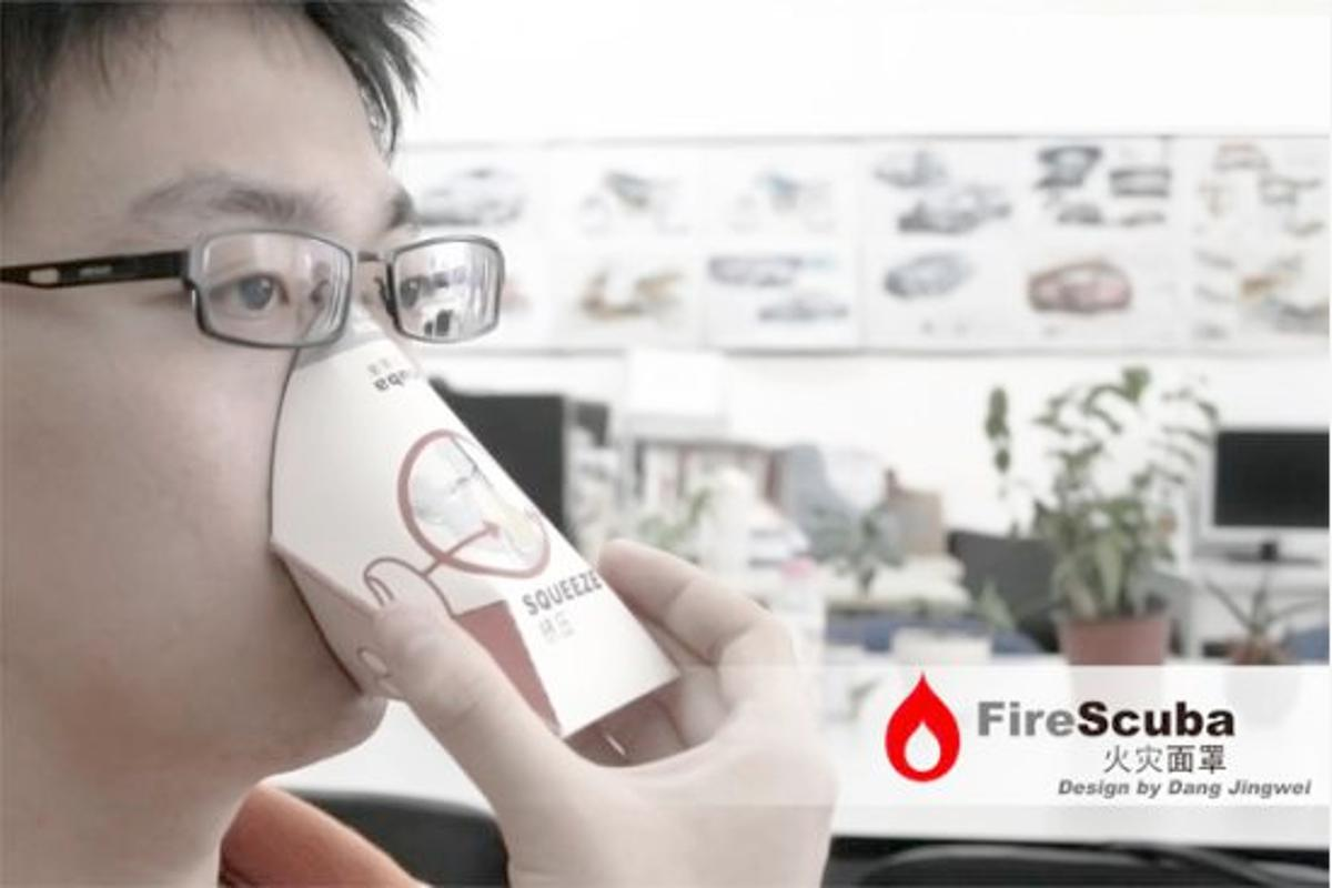 The Firescuba is a cardboard cup-shaped device that, when fitted, allows users to breathe through a carbon filter, and is designed to be used a in a fire-related emergency
