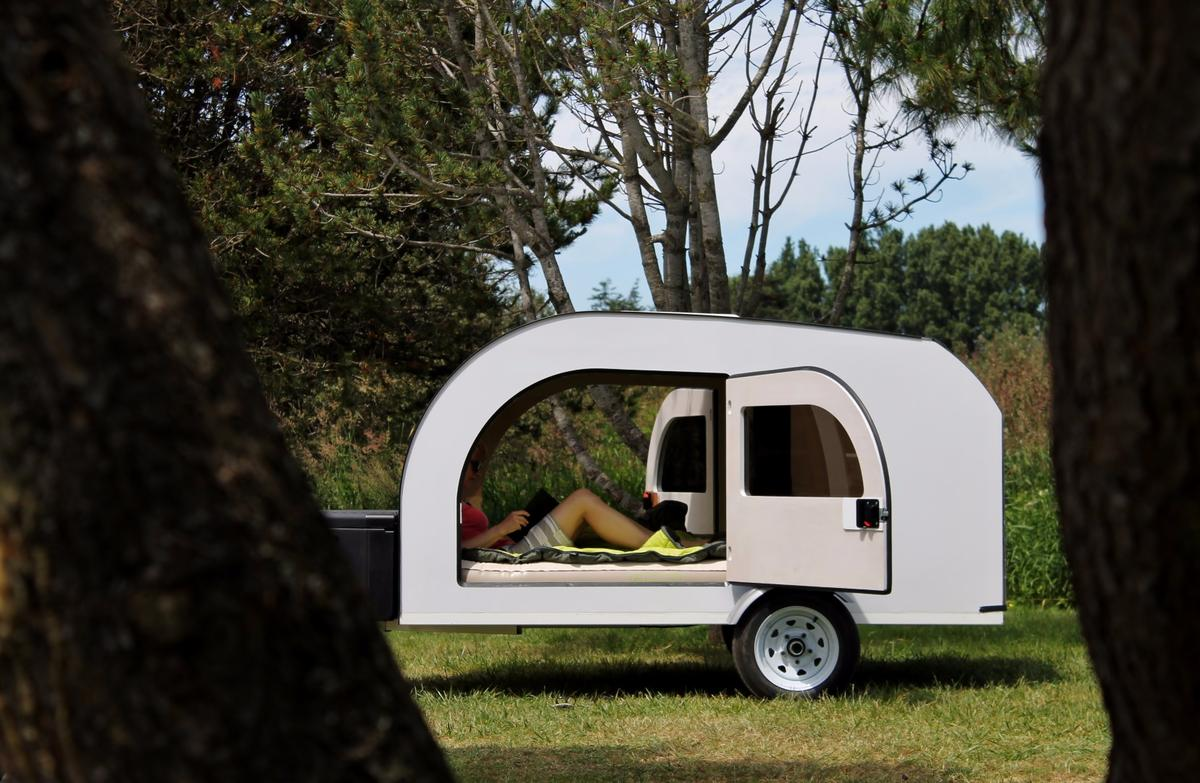 Lounging in the Droplet teardrop trailer