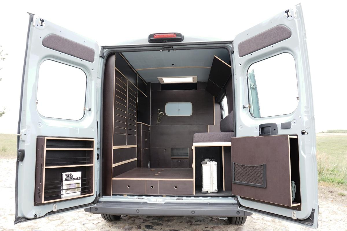 The interior cabinetry can beremoved within minutes, allowing the van to be used to transport larger goods