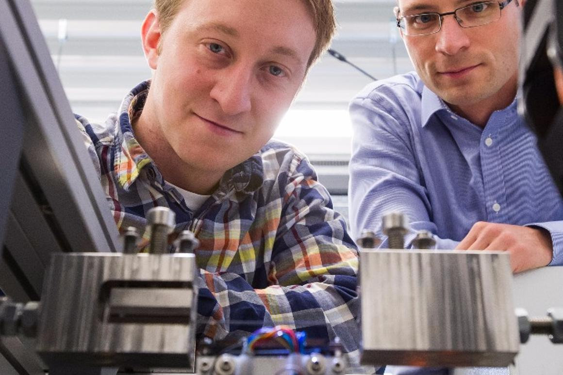 Engineers Marvin Schmidt and Johannes Ullrich Own with their prototype cooler