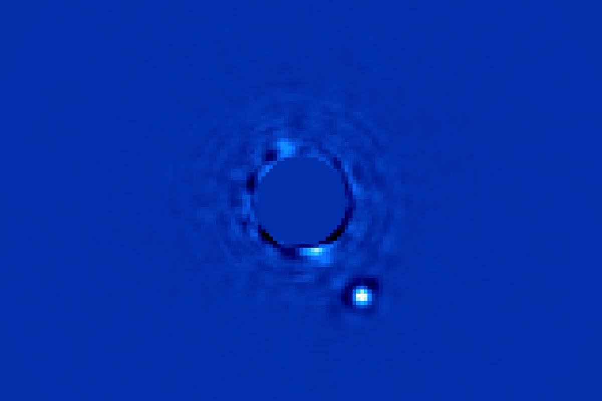The team targeted the Beta Pictoris system and retrieved direct images of the planet Beta Pictoris b some 63 million light years away (Image: Christian Marois, NRC Canada)