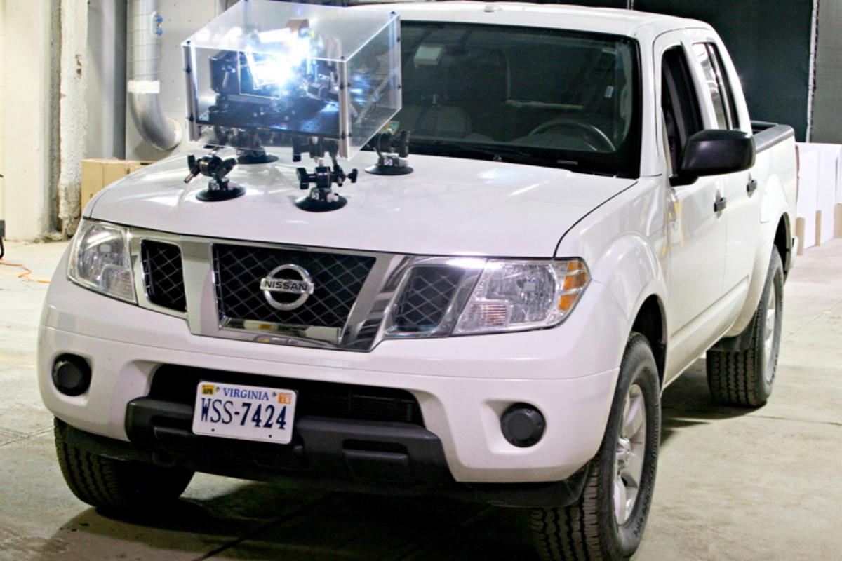 The system prototype, mounted on the hood of a truck
