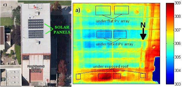 Google Earth image of the Powell Structural Systems Laboratory with a tilted solar panel array on the north side and a flush solar panel array on the center of the roof, alongside a thermal infrared image of the ceiling of the building showing temperatures in degrees Kelvin (Image: USCD Jacobs School of Engineering)