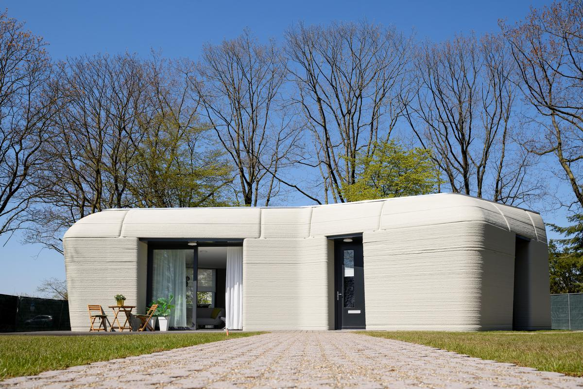 The 3D-printed house measures 94 sq m (roughly 1,000 sq ft), and consists of just one floor