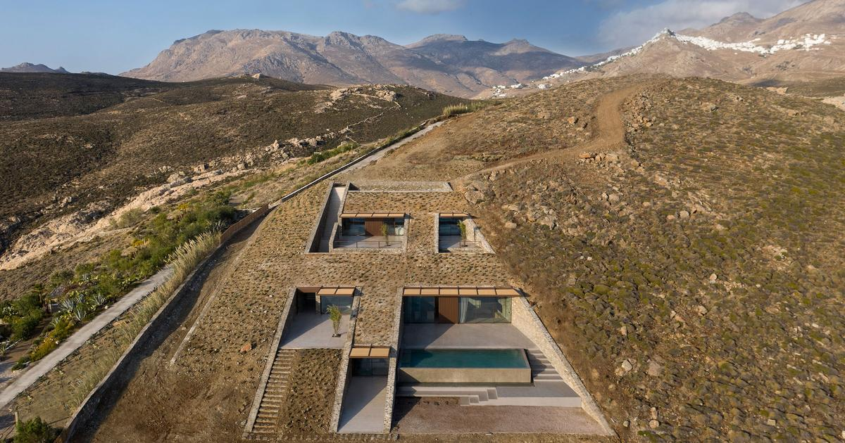 Luxury home disappears into rugged Greek landscape