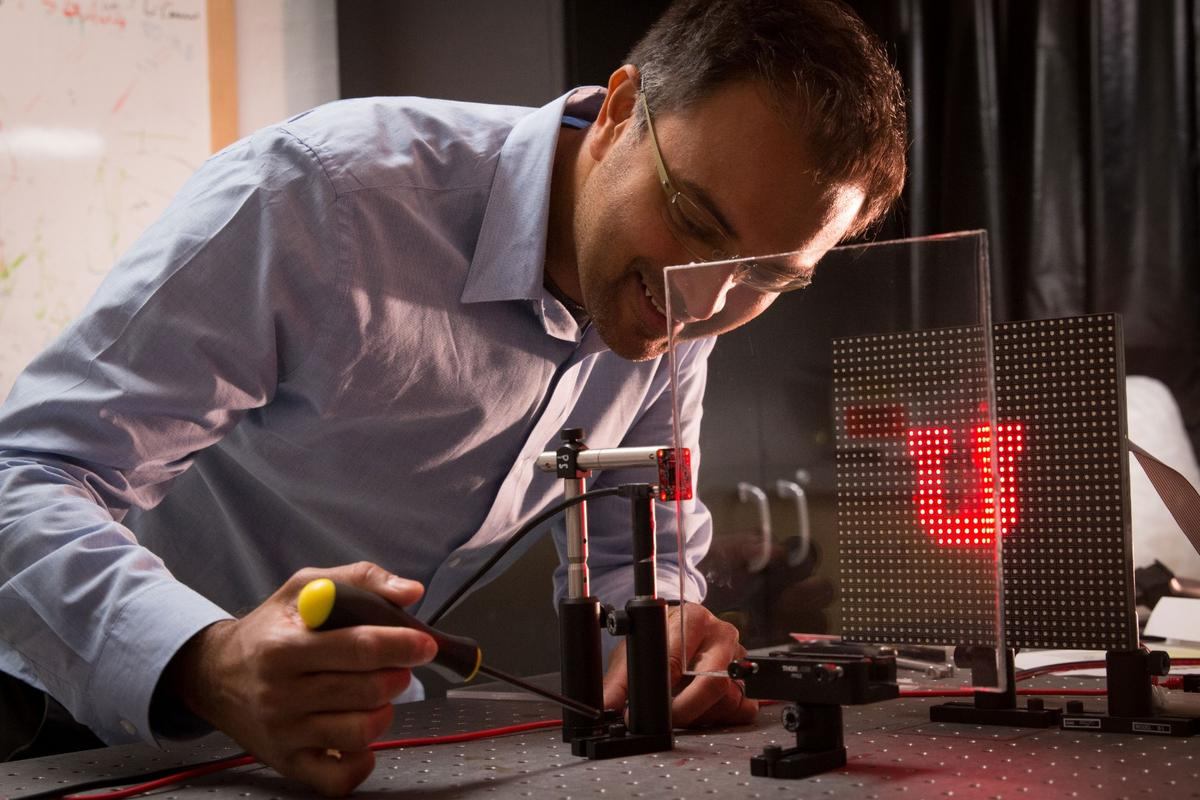 Rajesh Menon works on his imaging system