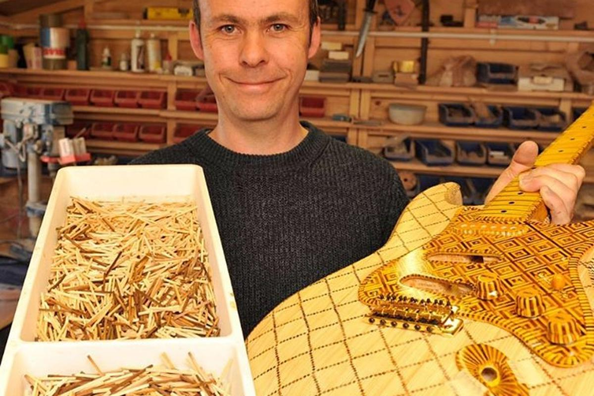 Luthier Dean Fraser with his matchstick 1954 Stratocaster tribute guitar