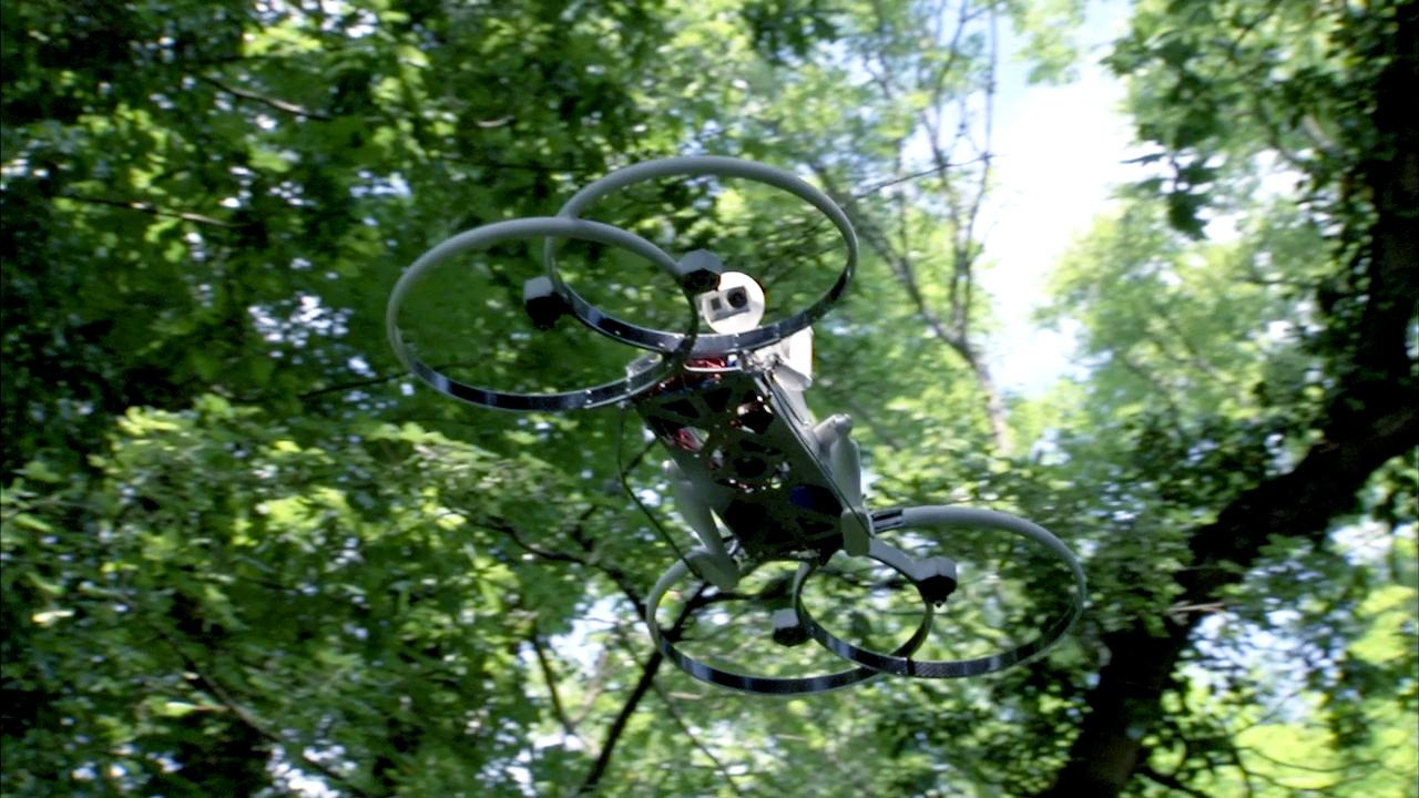 The quadcopter drone version of the Hoverbike can travel at speeds of up to 45 mph