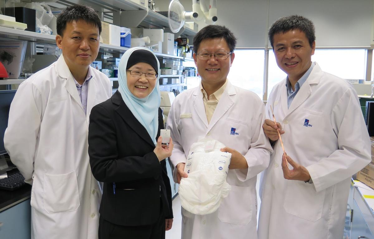 The IBN researchers who developed the diaper wetness monitoring system. From left: Dr Min Hu, Prof Jackie Y. Ying, Dr Rensheng Deng and Dr Guolin Xu