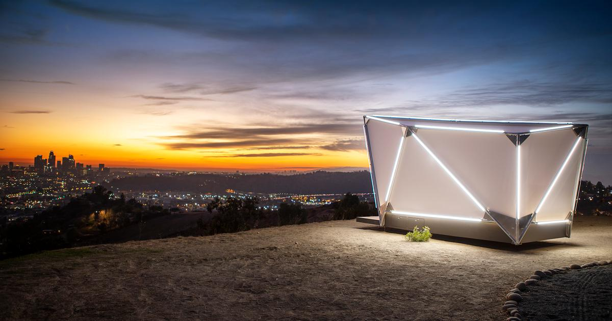 Off-grid fabric monolith glamps outside city limits and beyond