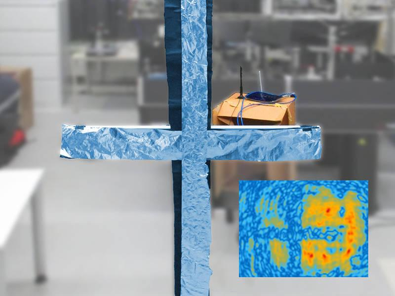 A cross made of aluminum foil between the viewer and the Wi-FIrouter can easily be reconstructed from the Wi-Fihologram as can be seen in the inserted picture