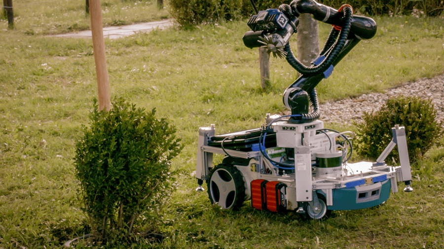 Trimbot pottering about the garden
