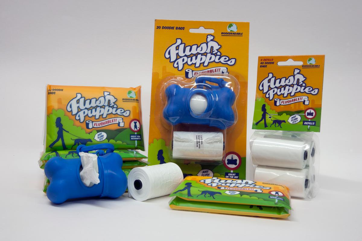 Flush Puppies are dog waste bags that dissolve when flushed down the toilet