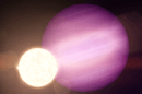 The gas giant planet WD 1856 b is seven times larger than the white dwarf star it orbits