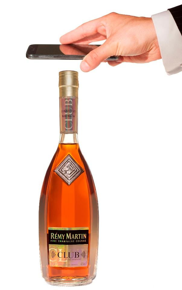 The Rémy Martin Club Connected Bottle NFC tag authenticates the bottle