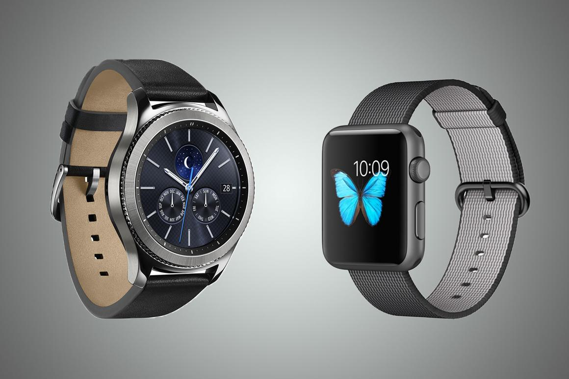 New Atlas compares the features and specs of the Samsung Gear S3 (l) and original Apple Watch