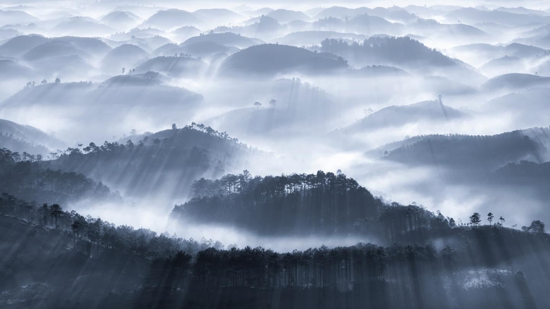 'Early fog'. B'lao, Bao Loc city, Lam Dong province, Vietnam