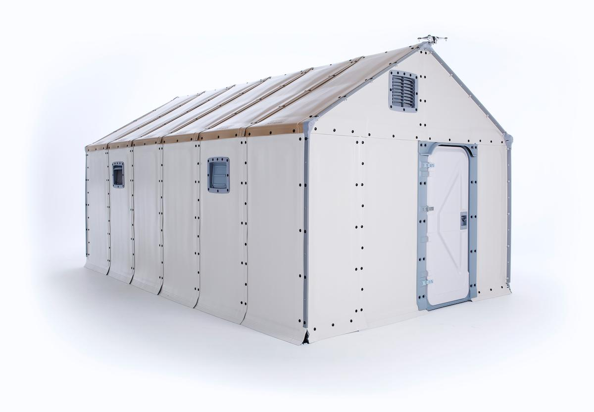 The Better Shelterincludes windows, a locking door, and a solar panel on the roof