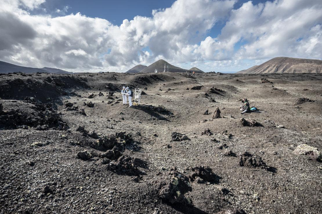 The site chosen for the ESA lunar spacewalk tests in the barren and dry landscape of Lanzarote in the Canary Islands, Spain