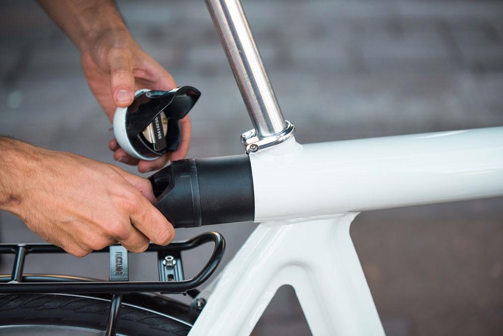 The Pressed E-bike's removable battery