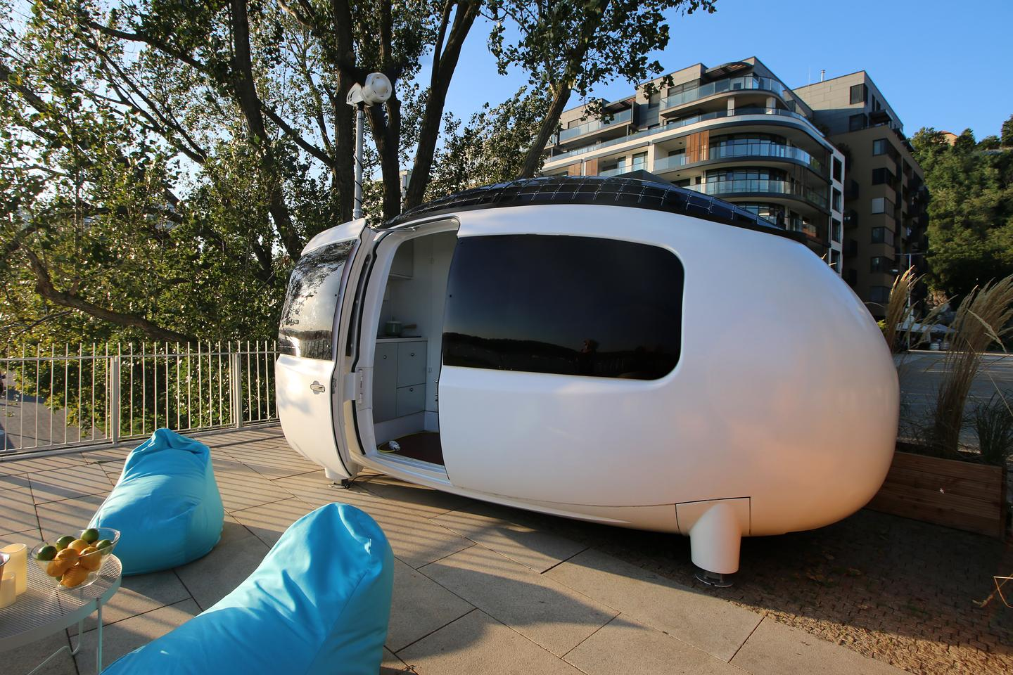 The original Ecocapsule, shown, has the same dimensions as the Space. Both measure 4.67 x 2.2 m (15 x 7.2 ft)