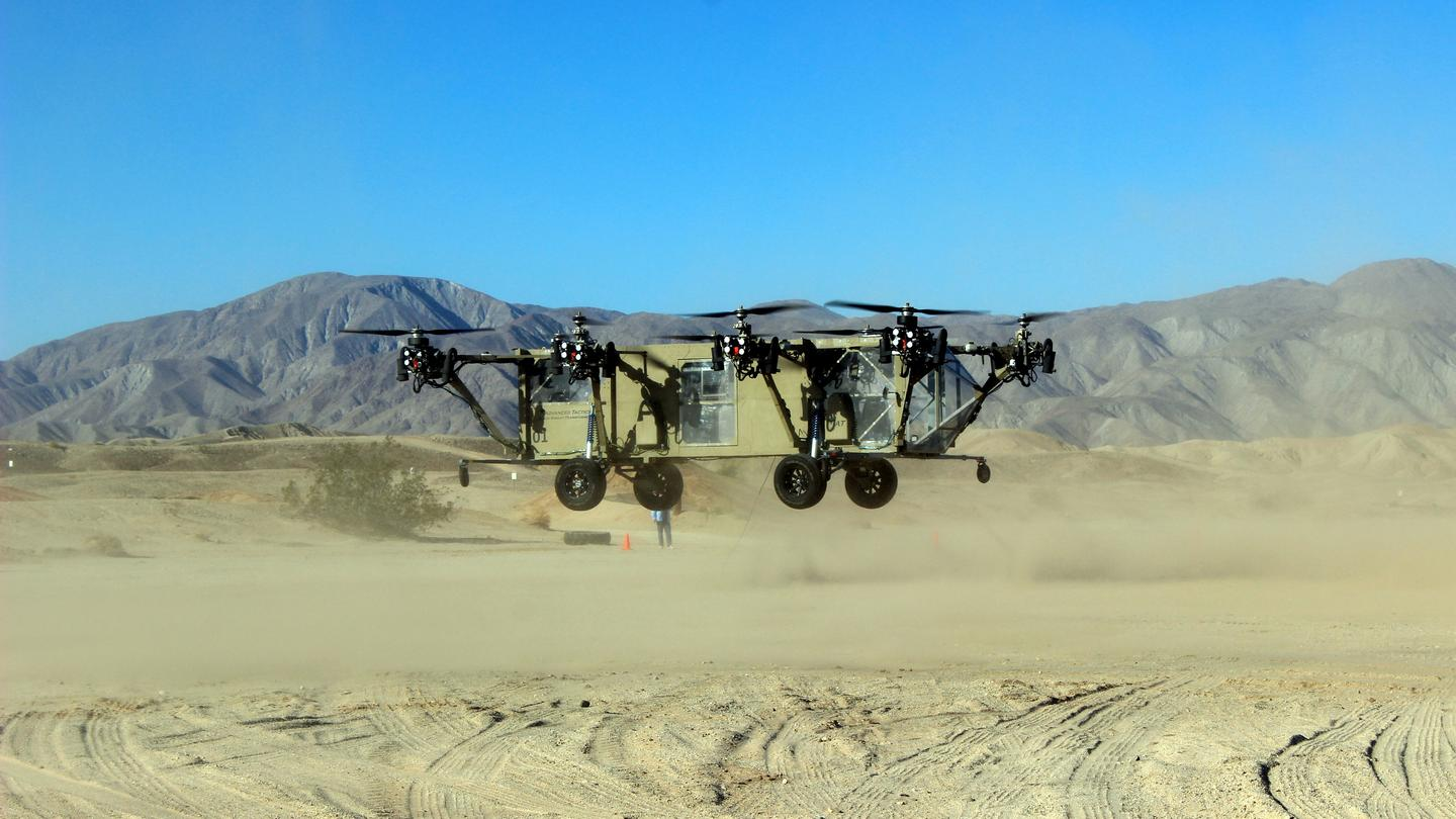 The AT Black Knight Transformer during its first flight demonstrating a stable and controlled hover