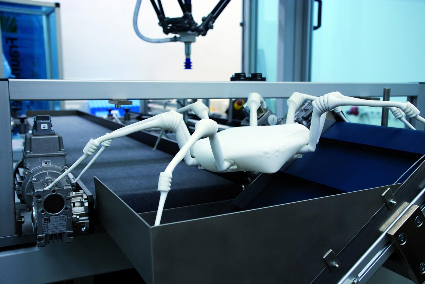 The eight-legged robot spider created by Fraunhofer researchers is made using a 3D printing process