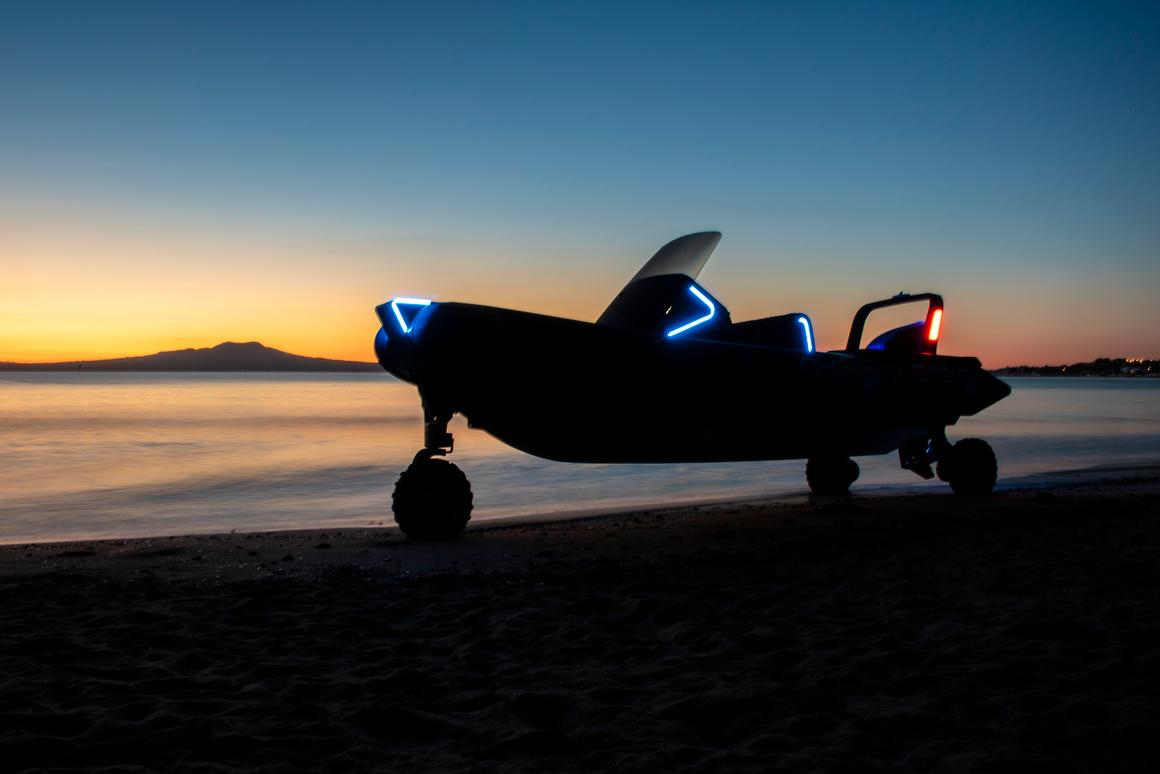The Sealegs Electric E4 can travel on land at up to 10 km/h (6 mph)