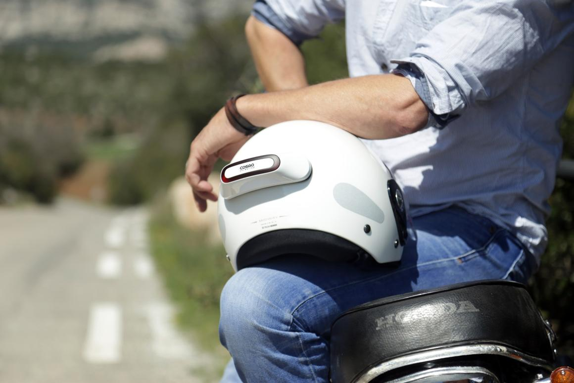 The Cosmo Connected smart brake light is designed to fit most helmets