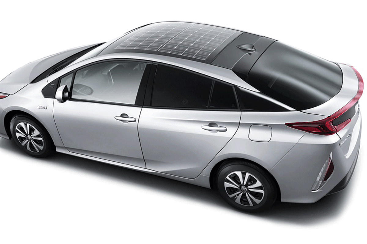 Toyota Prius with the solar roof option developed by Panasonic