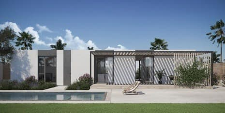 Mighty Building's 3D-printed homes will feature three bedrooms, two bathrooms and backyards with decking and swimming pools