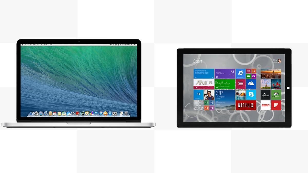 Gizmag compares the features and specs of the 2014 Retina MacBook Pro with the Surface Pro 3