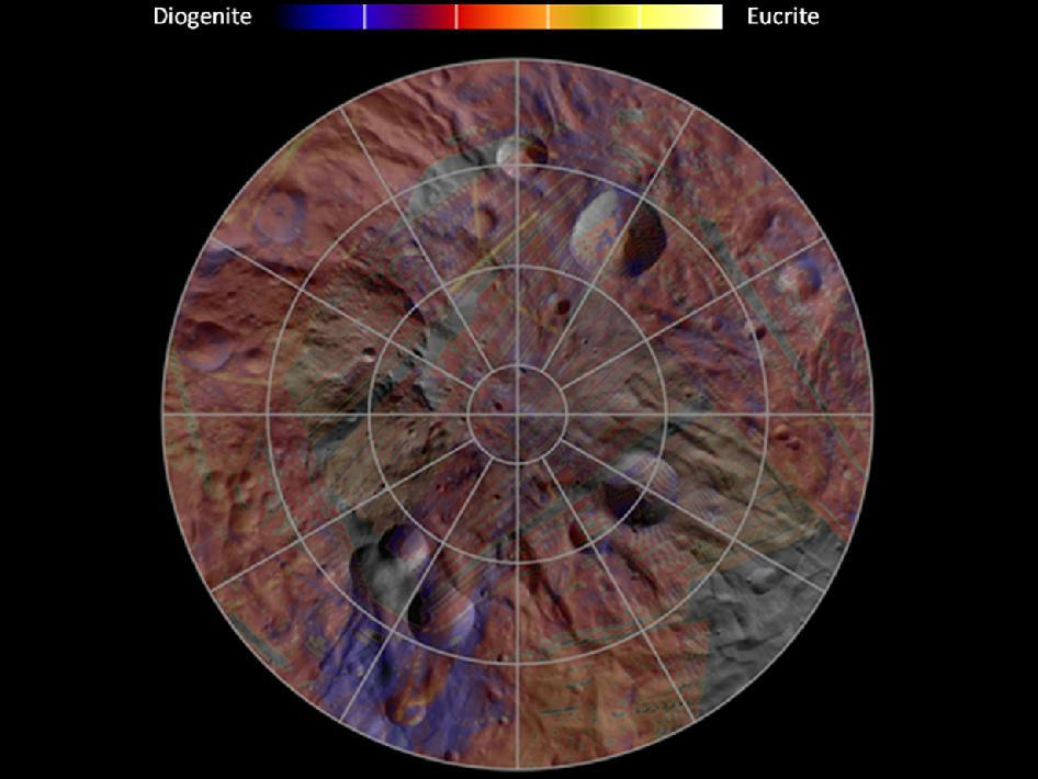 The mineral distribution in the southern hemisphere of the giant asteroid Vesta with areas in purple having a higher proportion of diogenite minerals, and yellow areas having a higher proportion of eucrite minerals (Image: NASA/JPL-Caltech/UCLA/INAF/MPS/DLR/IDA)