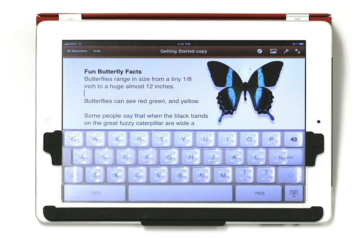 TouchFire is a transparent, silicone screen top keyboard for the iPad's virtual keyboard, that gives users the feel of raised keys as they type