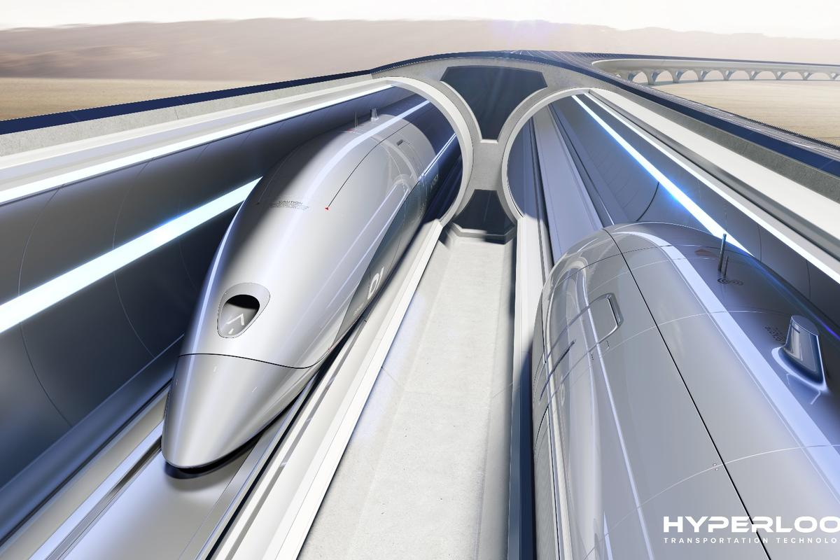 A fully functioning Hyperloop system would have levitating passenger and cargo pods shuttled through near-vacuum tubes at around 700 mph (1,126 km/h)