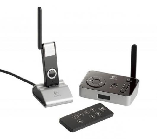 The Logitech Wireless Music System for PC is a simple, three-piece solution: a USB music transmitter that connects to the PC; a music receiver that plugs into a home stereo receiver or multimedia speakers through a standard RCA port or a 3.5 mm jack; and