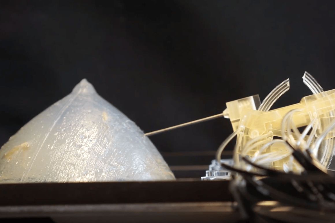 The plastic, 3D-printed robot can accurately take tissue biopsies from within an MRI scanner