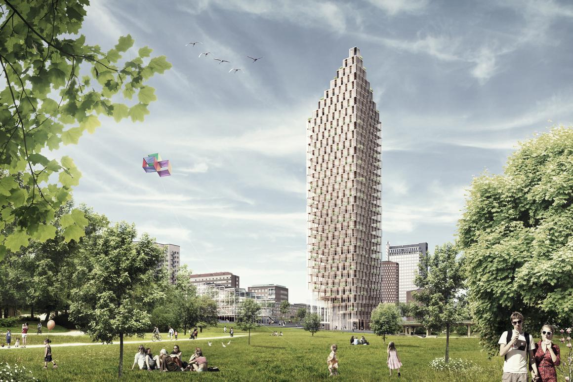 Could Berg C.F. Møller's vision prove a blueprint for getting the wooden skyscraper right? (Image: Berg C.F. Møller)