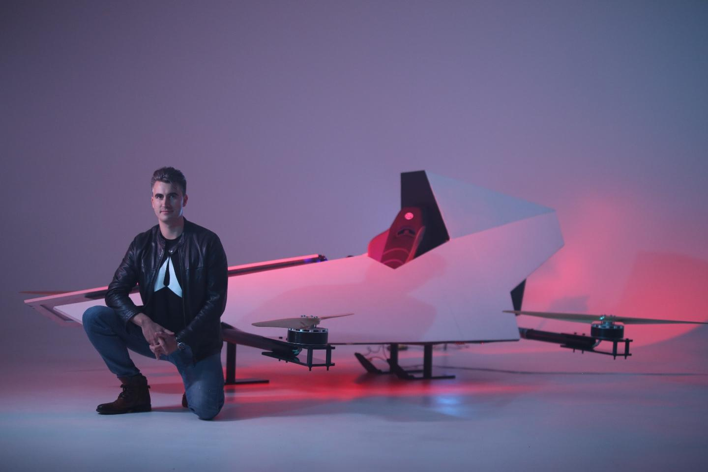 Matt Pearson with a mockup of the Mirage Airspeeder (NOT the Mark 1 Airspeeder, which would be the first model to actually fly)