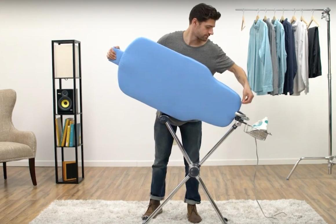 Sharkk has unveiled the Flippr, an ironing board that rotates 360 degrees to let users get to both sides of the garment without moving it