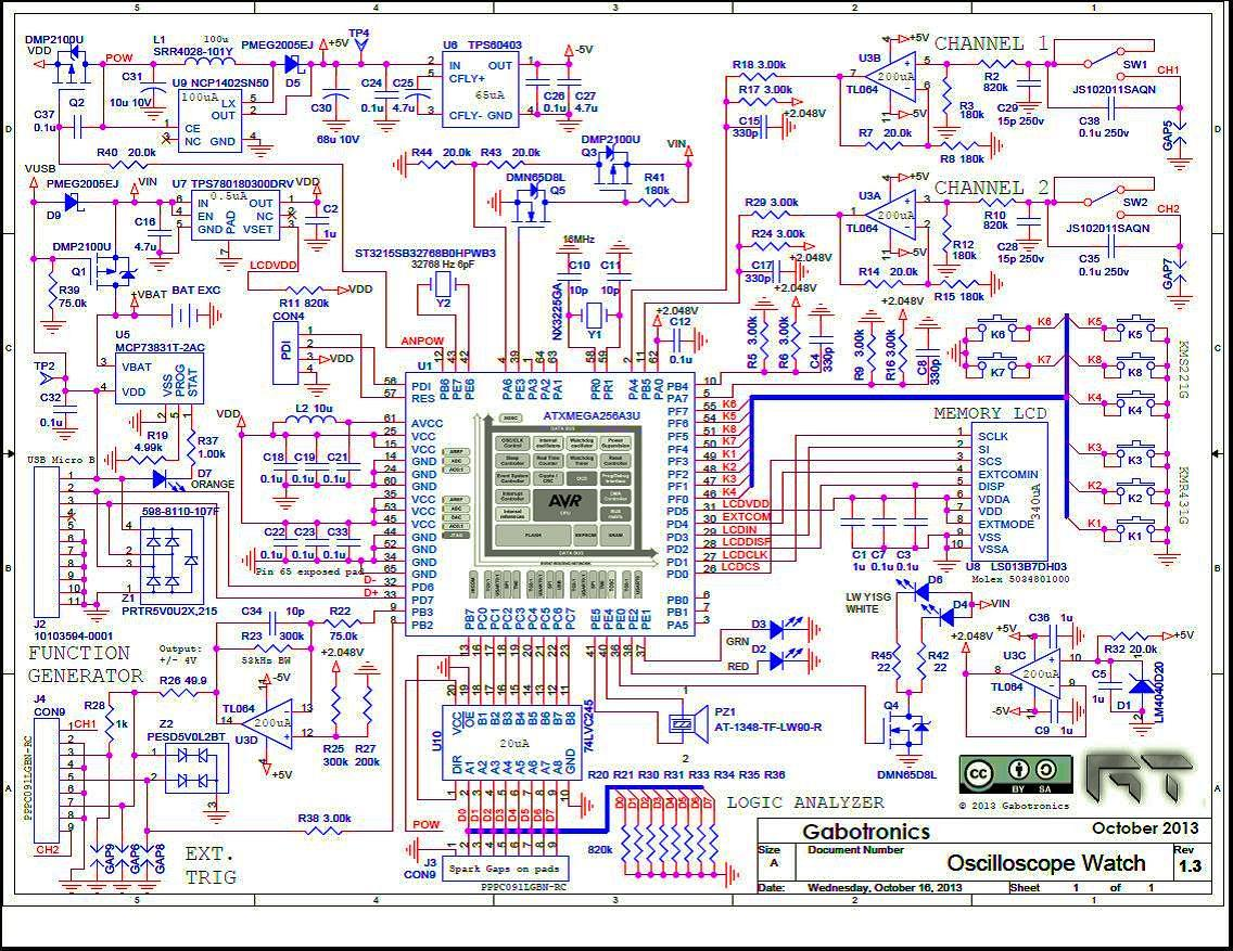 The schematic diagram of the Oscilloscope Watch's innards (Photo: Gabotronics)
