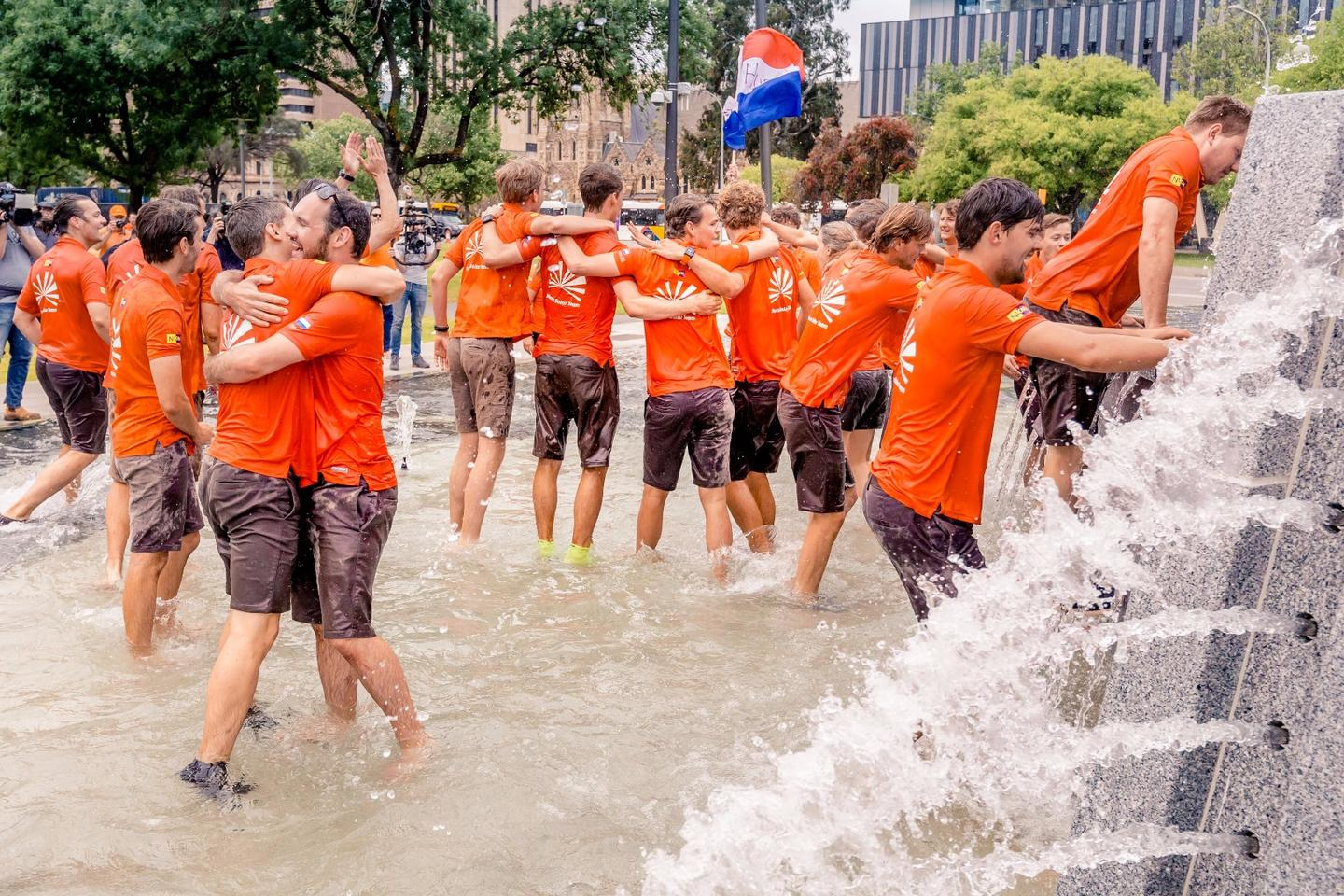 The Nuon Solar Team celebrates its seventh title in the World Solar Challenge
