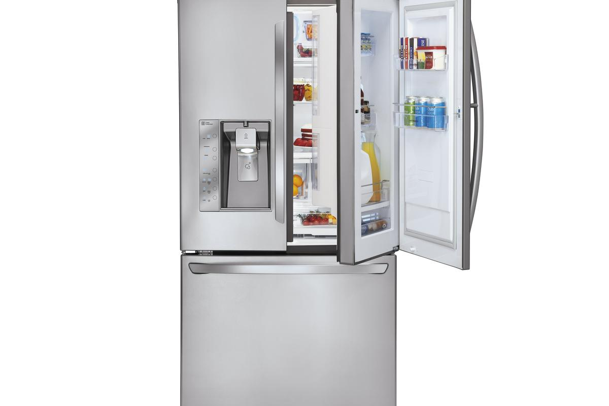 The right door of LG's new super capacity fridge allows access to the main storage space within, or at the press of a button opens a slim compartment within the door frame where commonly needed items can be stored and retrieved