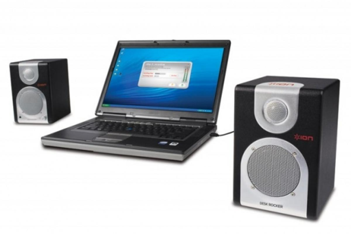 The US$149.95 DESK ROCKER speaker system consists of two self-powered desktop speakers, which plug into a standard wall outlet.