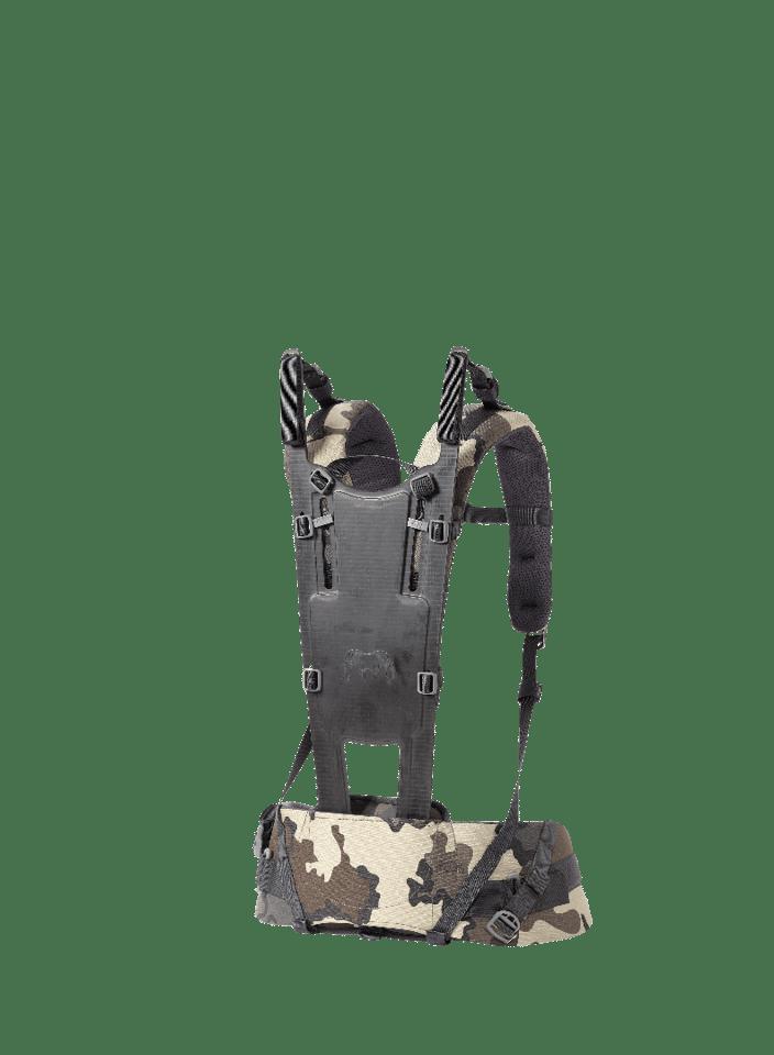 The frame, shoulder straps and hip belt serve are the base elements for the Kuiu backpack system