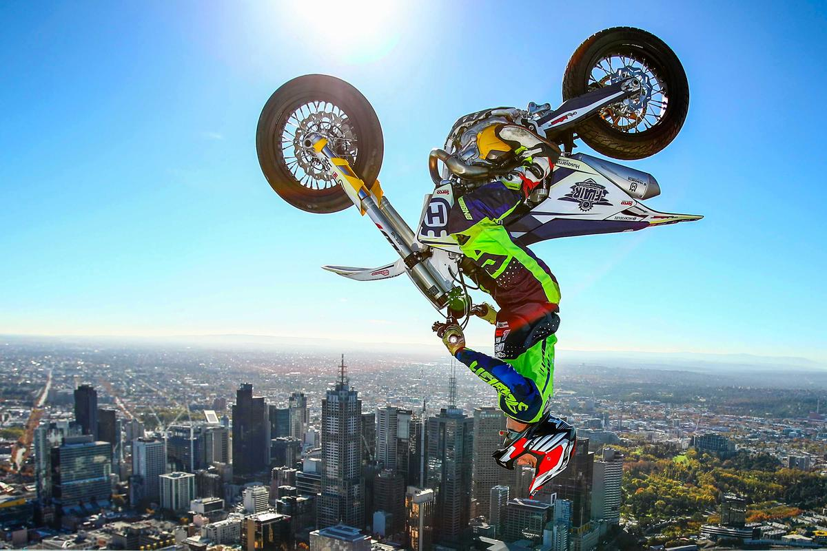 World Sports Photography Awards. Gold, View. World Champion Trials bike rider Jack Field performs the highest backflip on a motorcycle ever recorded as he flips his motorbike upside down on the roof of Melbourne's Eureka Tower on May 22, 2019 in Melbourne, Australia