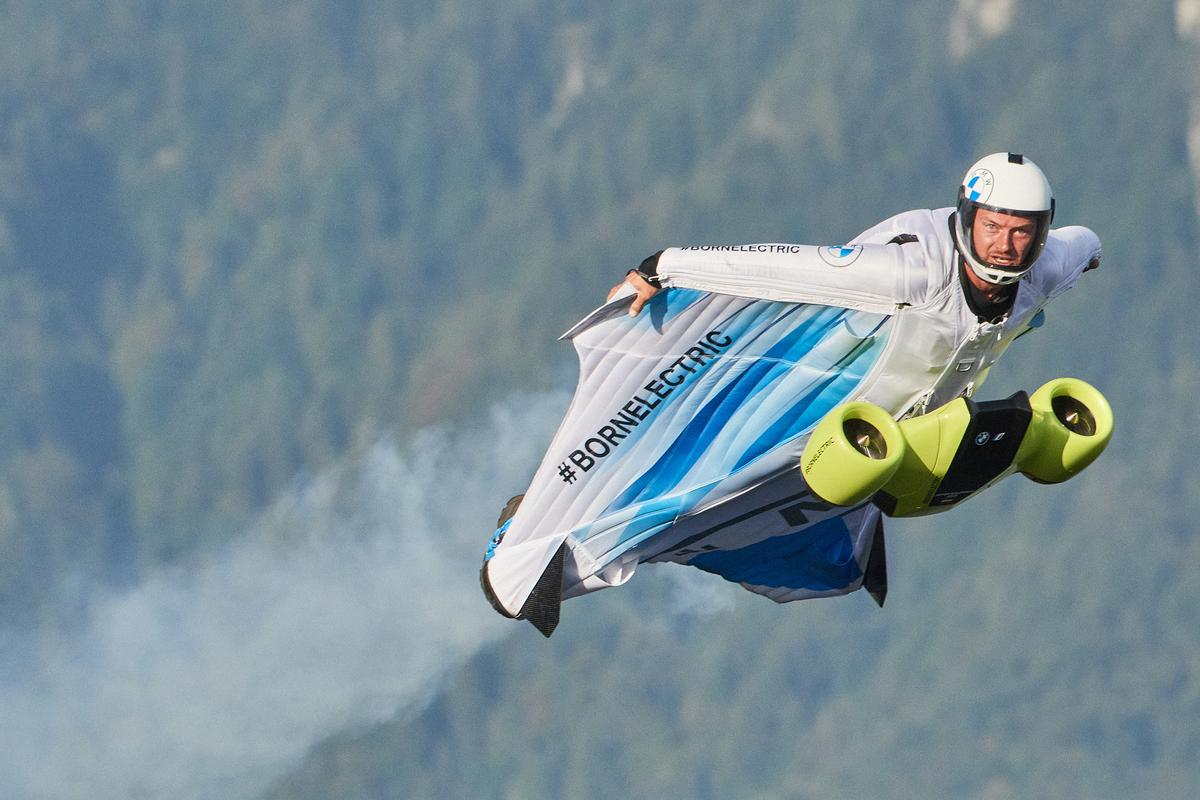 Austria's Peter Salzmann powers through the air in his 300-km/h, twin-impeller electric wingsuit