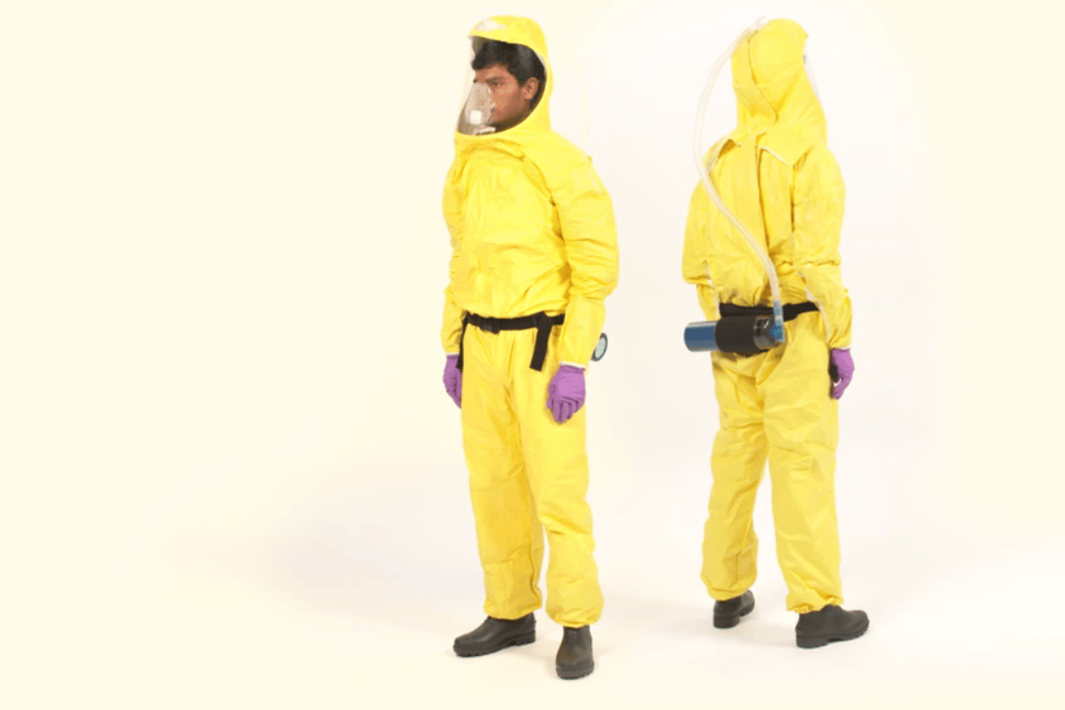 The Johns Hopkins Ebola suit is color coded to show what surfaces are safe to touch when removing it