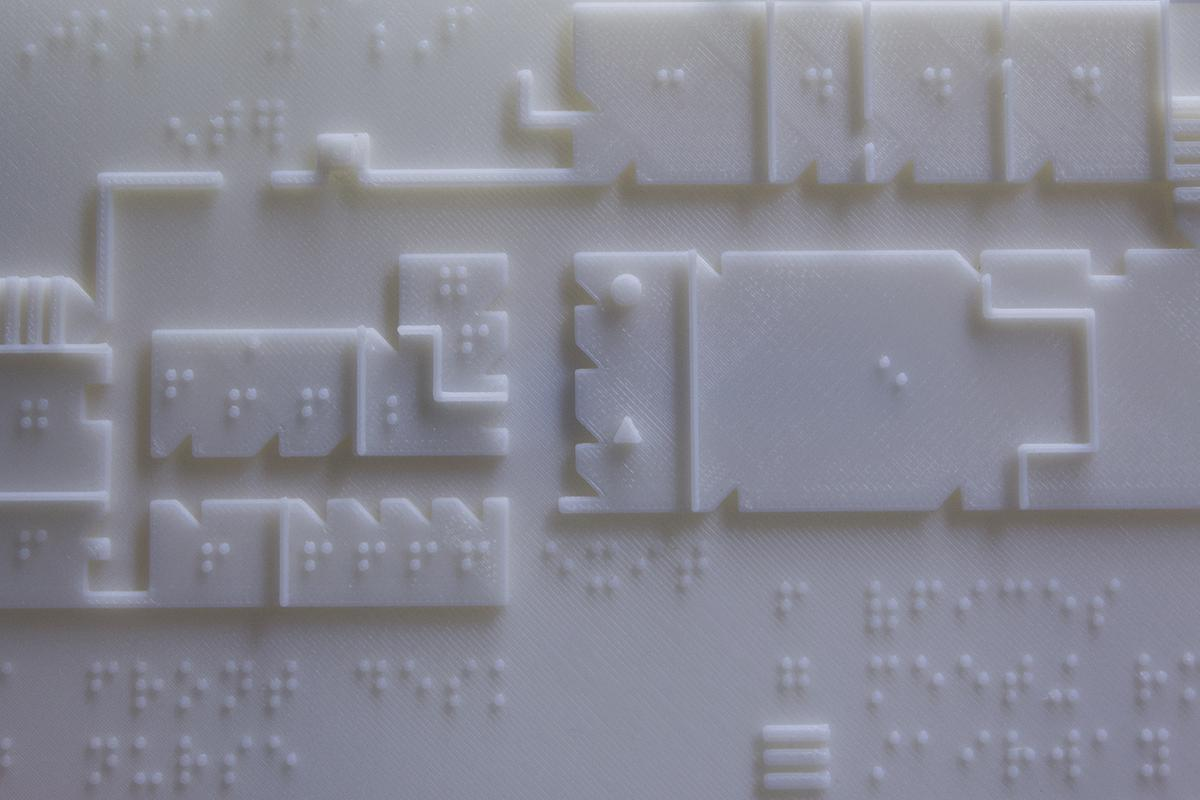 The 3D-printed braille maps provide students with the layout of each of the training center's three floors
